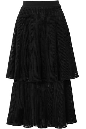 SONIA RYKIEL Tiered ribbed wool-blend midi skirt
