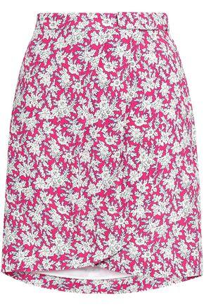 CLAUDIE PIERLOT Bow-detailed floral-print woven mini skirt