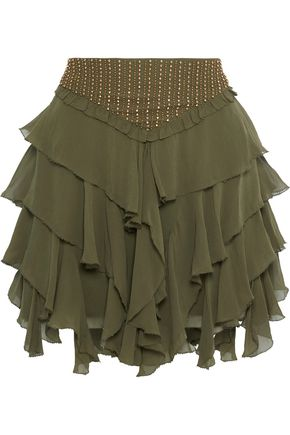 LOVE SAM Tiered bead-embellished ruffled georgette mini skirt