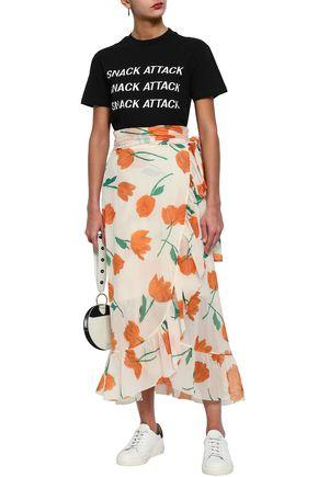 4c50ac052fdb GANNI Tilden ruffled floral-print mesh midi wrap skirt
