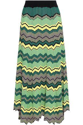 SANDRO Pleated jacquard-knit midi skirt