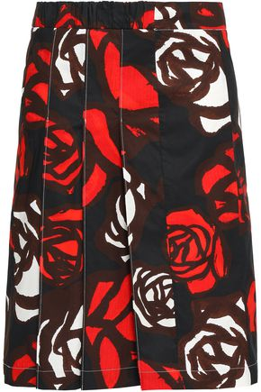 MARNI Pleated floral-print cotton-poplin skirt