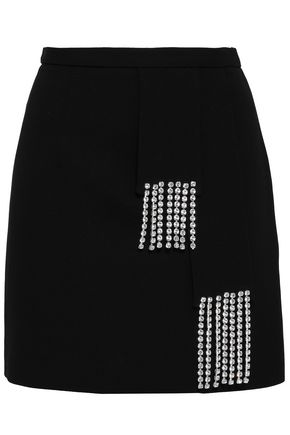 CHRISTOPHER KANE Crystal-embellished wool-crepe mini pencil skirt