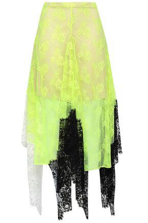 CHRISTOPHER KANE Paneled neon lace midi skirt