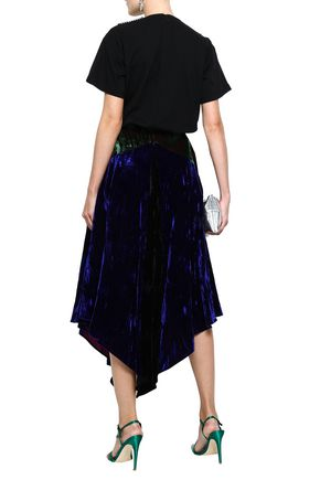 CHRISTOPHER KANE Asymmetric crushed-velvet midi skirt
