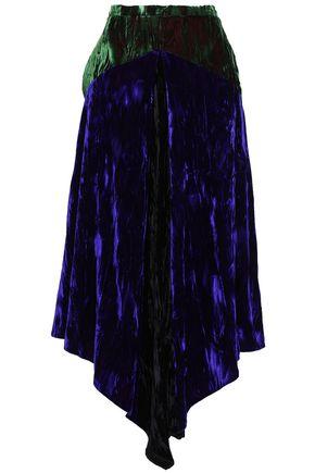 CHRISTOPHER KANE Asymmetric crushed-velvet midi skirt