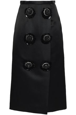 CHRISTOPHER KANE Wrap-effect floral-appliquéd silk-satin midi skirt