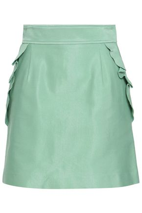 SANDRO | Sandro Ruffled Cotton-Blend Mini Skirt | Goxip