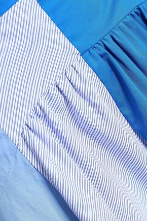 SANDRO Paneled cotton-blend poplin midi skirt