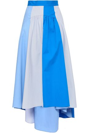SANDRO Paneled cotton-blend poplin midi skirt