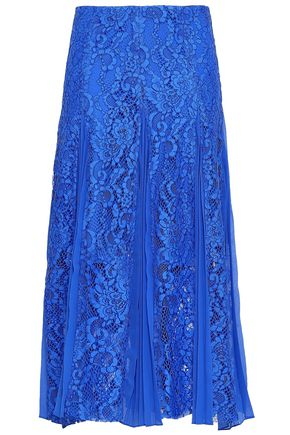 SANDRO Polina pleated crepe de chine-paneled lace midi skirt