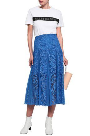 SANDRO Polina pleated crepe de chine-paneled lace midi skirt