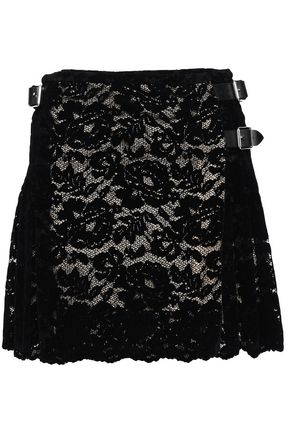 CHRISTOPHER KANE Pleated flocked lace mini wrap skirt