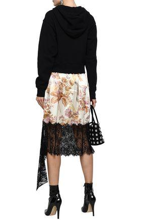 CHRISTOPHER KANE Lace-paneled floral-print silk-satin midi skirt