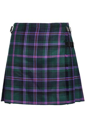 CHRISTOPHER KANE Pleated checked wool-flannel mini wrap skirt