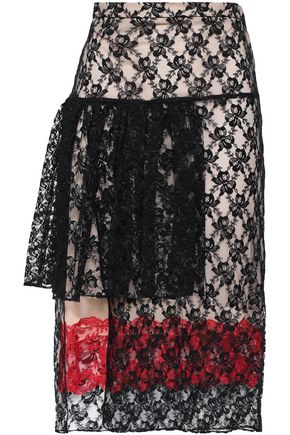 CHRISTOPHER KANE Layered lace midi skirt