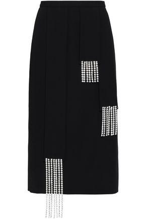 CHRISTOPHER KANE Crystal-embellished wool-crepe pencil skirt