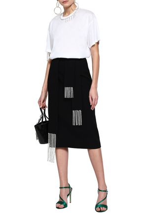 CHRISTOPHER KANE Crystal-embellished wool-crepe pencil skirt