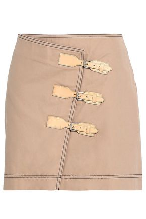 GANNI Buckled cotton-twill mini skirt