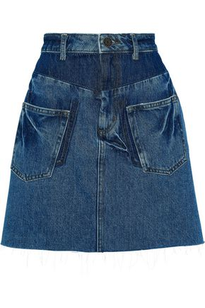 SANDRO Fadela paneled denim mini skirt