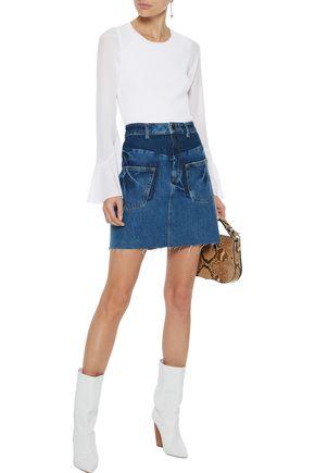 SANDRO Fadela paneled denim mini skirt