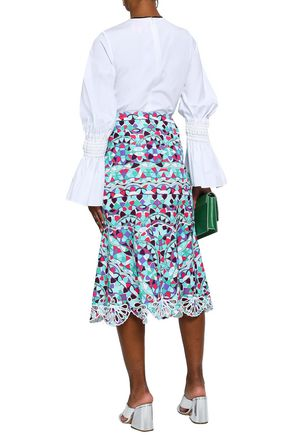 EMILIO PUCCI Broderie anglaise-trimmed printed cotton-blend midi skirt