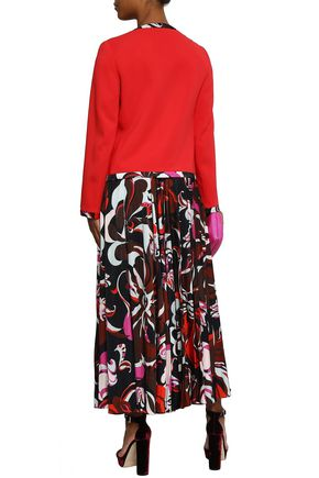 EMILIO PUCCI Pleated printed jersey maxi skirt