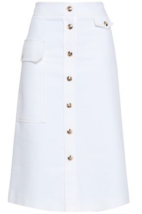 EMILIO PUCCI Button-detailed cotton midi skirt