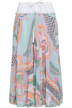 EMILIO PUCCI Paneled perforated cotton-poplin and printed crepe midi skirt
