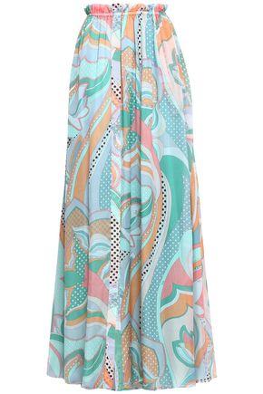 EMILIO PUCCI Ruffle-trimmed printed silk-chiffon maxi skirt