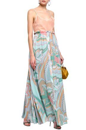 2ca6d291b153e EMILIO PUCCI Ruffle-trimmed printed silk-chiffon maxi skirt
