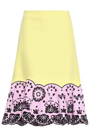 EMILIO PUCCI Broderie anglaise-paneled cotton midi skirt