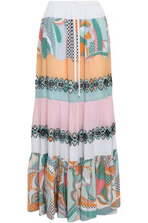 EMILIO PUCCI Embellished printed silk-chiffon maxi skirt
