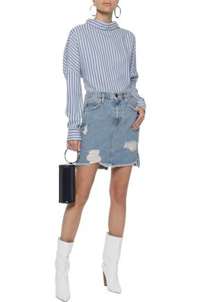 CURRENT/ELLIOTT The High Waist distressed denim mini skirt
