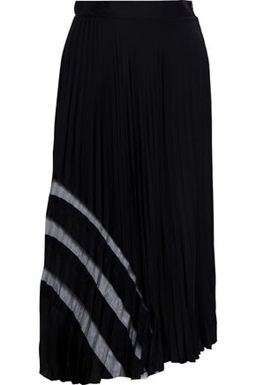 MILLY Tulle-trimmed pleated stretch-silk midi skirt