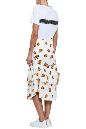 GANNI Roseburg shirred floral-print washed-crepe midi skirt