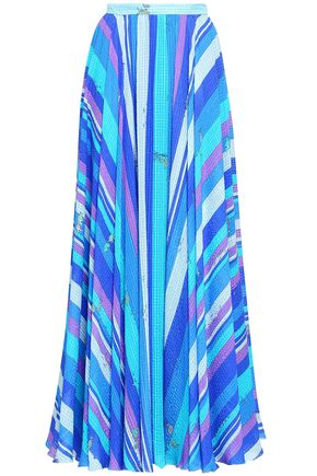 EMILIO PUCCI Striped silk-seersucker maxi skirt