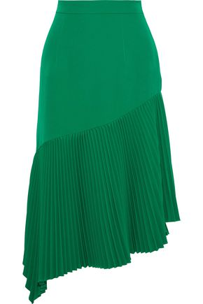 MILLY Charlotte asymmetric pleated stretch-crepe midi skirt