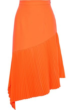 MILLY Asymmetric pleated stretch-crepe skirt