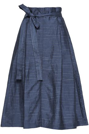 GENTRYPORTOFINO Belted striped linen-blend midi skirt