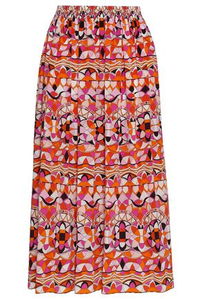 EMILIO PUCCI Gathered printed silk midi skirt