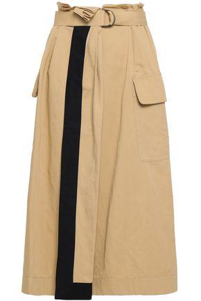 GENTRYPORTOFINO | Gentryportofino Belted Pleated Cotton And Linen-Blend Midi Skirt | Goxip