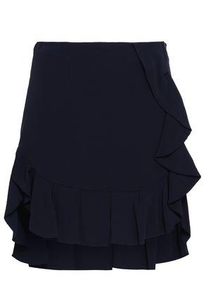 SANDRO Ruffled crepe mini skirt