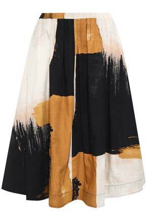 DONNA KARAN Printed cotton-poplin skirt