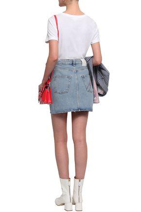 SANDRO Embroidered faded denim mini skirt