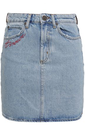 SANDRO Embroidered faded denim mini skirt