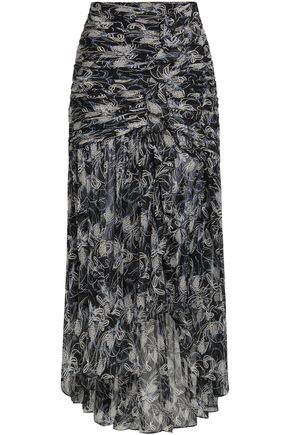 CINQ À SEPT Ruched printed silk-georgette maxi skirt