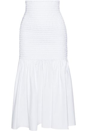 ROSETTA GETTY Smocked cotton-poplin midi skirt