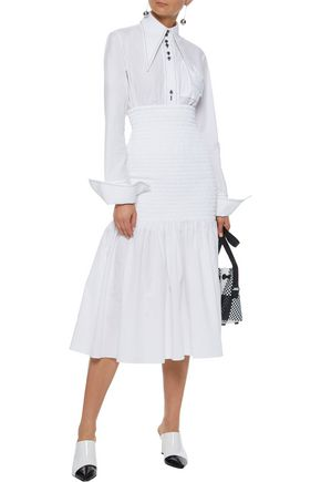 ROSETTA GETTY Smocked cotton-poplin midi skirt