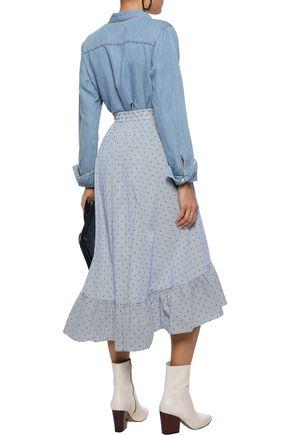 MAJE Johno wrap-effect cotton-jacquard midi skirt
